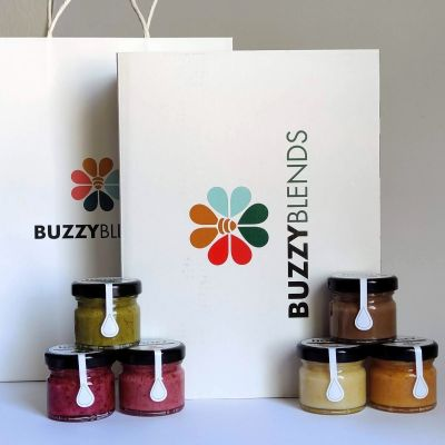 Raw Honey Gift Set of 6 blended honey jars in a paper Buzzy Blends box